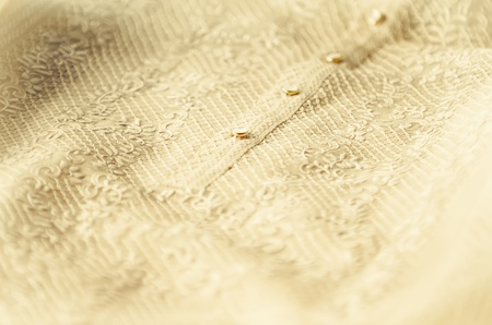 Closeup of grooms Barong Tagalog during a Philippine wedding