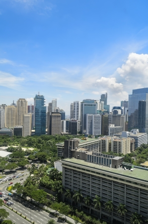 manila: Cloudy day in Makati Business District, Philippines Stock Photo