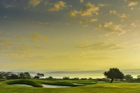of course: A beautiful golf course in the Philippines during sunset Stock Photo