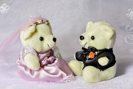 Closeup of small bride and groom bear photo