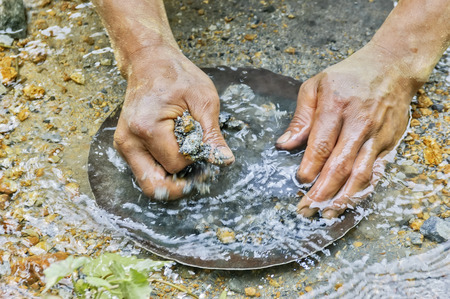 Closeup of hands gold panning in a river