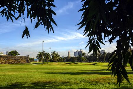 City golf greens in the historical city of Manila Stock Photo