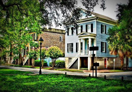row of houses: Historic Savannah Row Houses