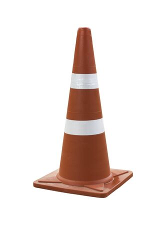 Orange traffic cone for road works isolated on white background