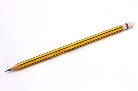 Yellow pencil isolated on white background.