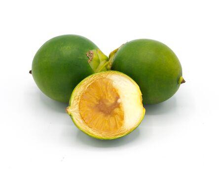 Betel nut on a white background.