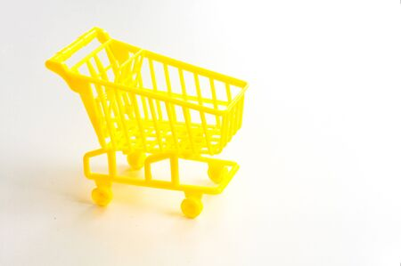 Side View of Shopping Cart On White Background. Reklamní fotografie