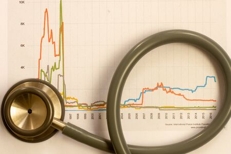 Medical statistics and graphic charts with stethoscope. Stock Photo
