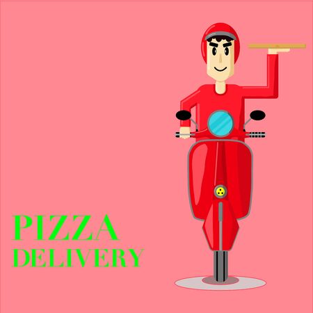 Delivery Man and Scooter Flat Vector. Food Delivery Concept Illustration.