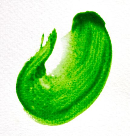 green stroke of the paint brush on white paper