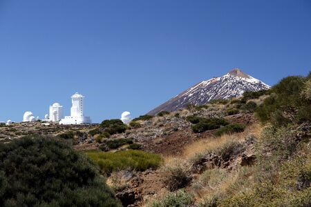 The dormant volcano of Mount Teide and the surrounding volcanic landscape on Tenerife in the Canary Islands Stock Photo