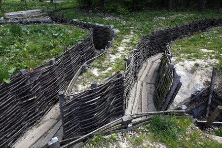 The World War One German Bayernwald trench system near Ypres in Belgium. Many of the trenches have been restored