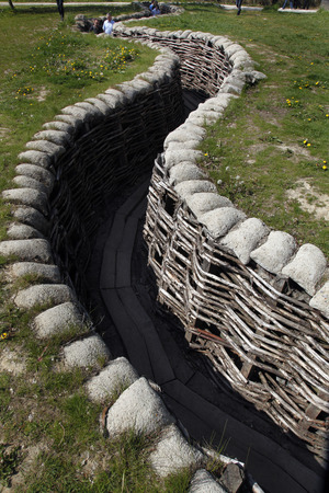 The World War One German 'Bayernwald' trench system near Ypres in Belgium. Many of the trenches have been restored