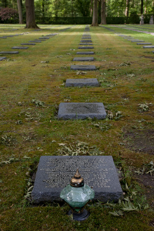 The German World War One war cemetery of Vladslo near Ploegsteert in Belgium and its statues of a grieving mother and father Editorial