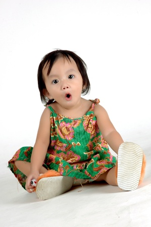 asia little girl on a white background in the photo studio Stock Photo - 8864356