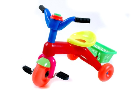 bike plastic toys for kids isolated on white background