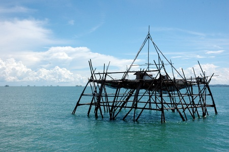 livelihoods: bagang house is a house in the middle of the ocean made by Indonesian fishermen to catch fish at night