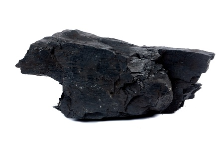a big lump of coal isolated on white background