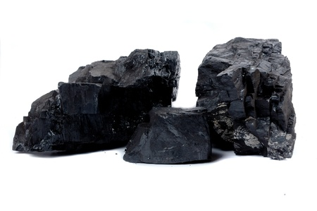 combustible: lumps of coal isolated on white background Stock Photo