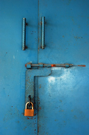 blue iron door locked photo