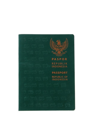 green passport book Indonesian citizens isolated on white background photo