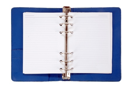 an opened blue leather notebook isolated on white background photo