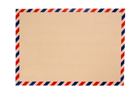 brown envelope with blue and red striped isolated on white background
