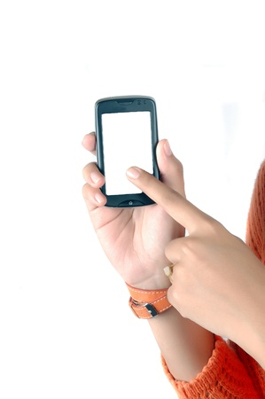 finger is being touched on the touch screen mobile phone screen isolated on white background Stock Photo - 11888081