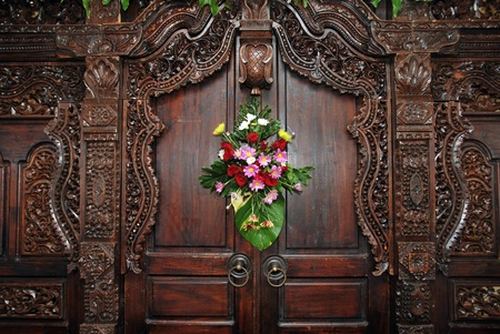 wood carvings on the wall as a decoration photo