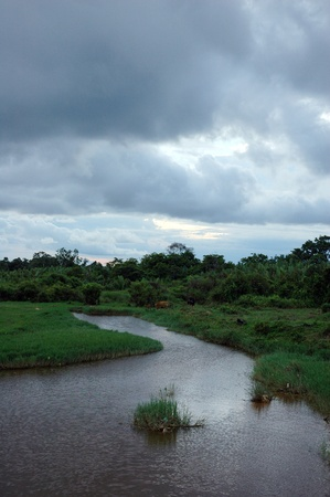 a view landscape of the river at afternoon with dark cloud photo