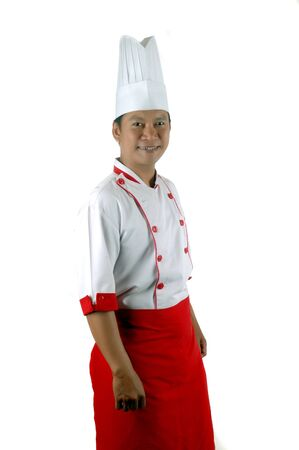 culinary skills: asian chef portrait isolated on white background Stock Photo