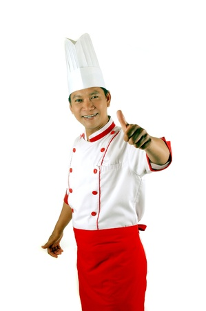 chef gives thumbs up sign isolated on white background