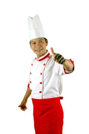 Koch gibt Daumen hoch-Zeichen auf weißem Hintergrund Standard-Bild - 13228152