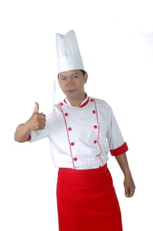 culinary skills: chef gives thumbs up sign isolated on white background