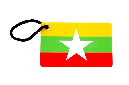 Myanmar flag tag isolated on white background Stock Photo - 13228789