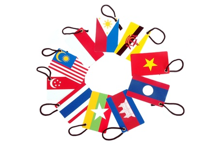 ten asean member countries  flag tag isolated on white background Stock Photo