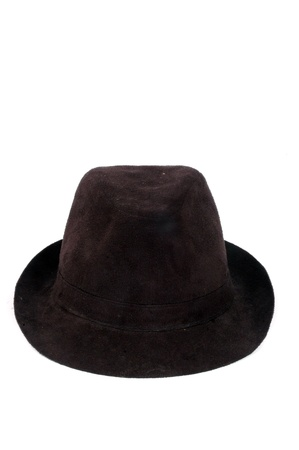 a fashionable black velvet hat isolated on white background photo