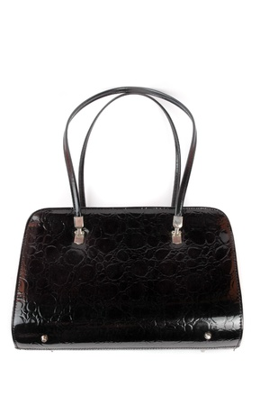 a leather black women handbag isolated on white background