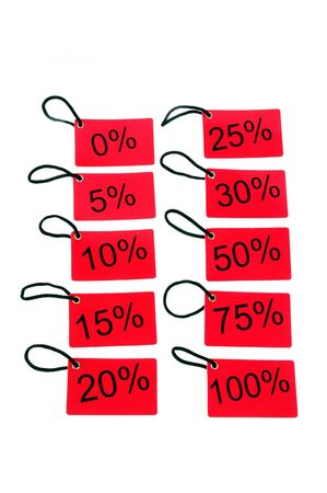 different red tags with the percentage level isolated on white background photo