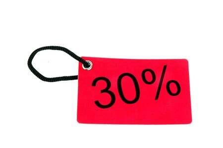thirty percent paper tag isolated on white background Stock Photo - 13608425