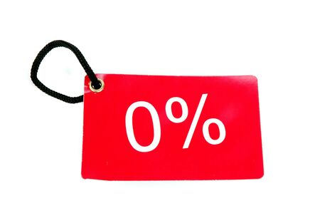 zero percent red paper tag isolated on white background photo