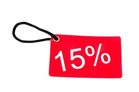 fifteen percent red paper tag isolated on white background photo