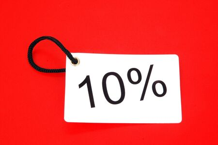 ten percent red paper tag isolated on white background photo