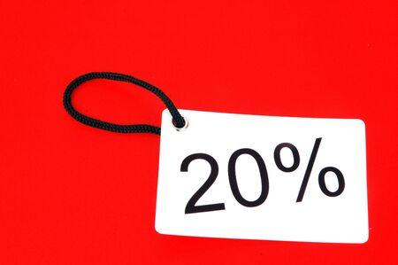 twenty percent paper tag isolated on white background photo