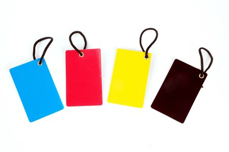 four color blank paper tag isolated on white background Stock Photo - 13634038