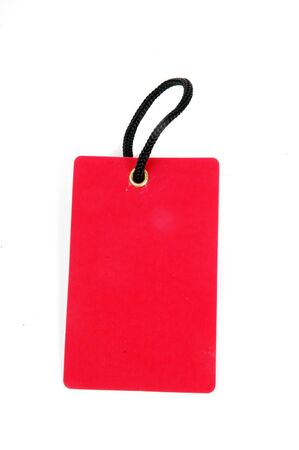 vertical red blank paper tag isolated on white background Stock Photo - 13634046