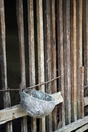 chicken cage: wood chicken cage Stock Photo