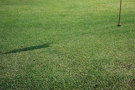 shadow of the flagstick on golf hole photo