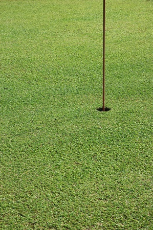 flagstick on golf hole photo