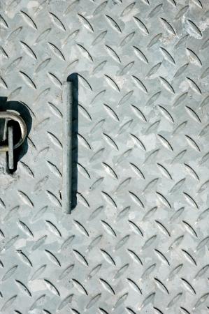 pattern of  iron bunker door with a padlock photo